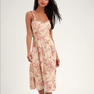 Sunny Meadow Peach Floral Print TieBack Midi Dress